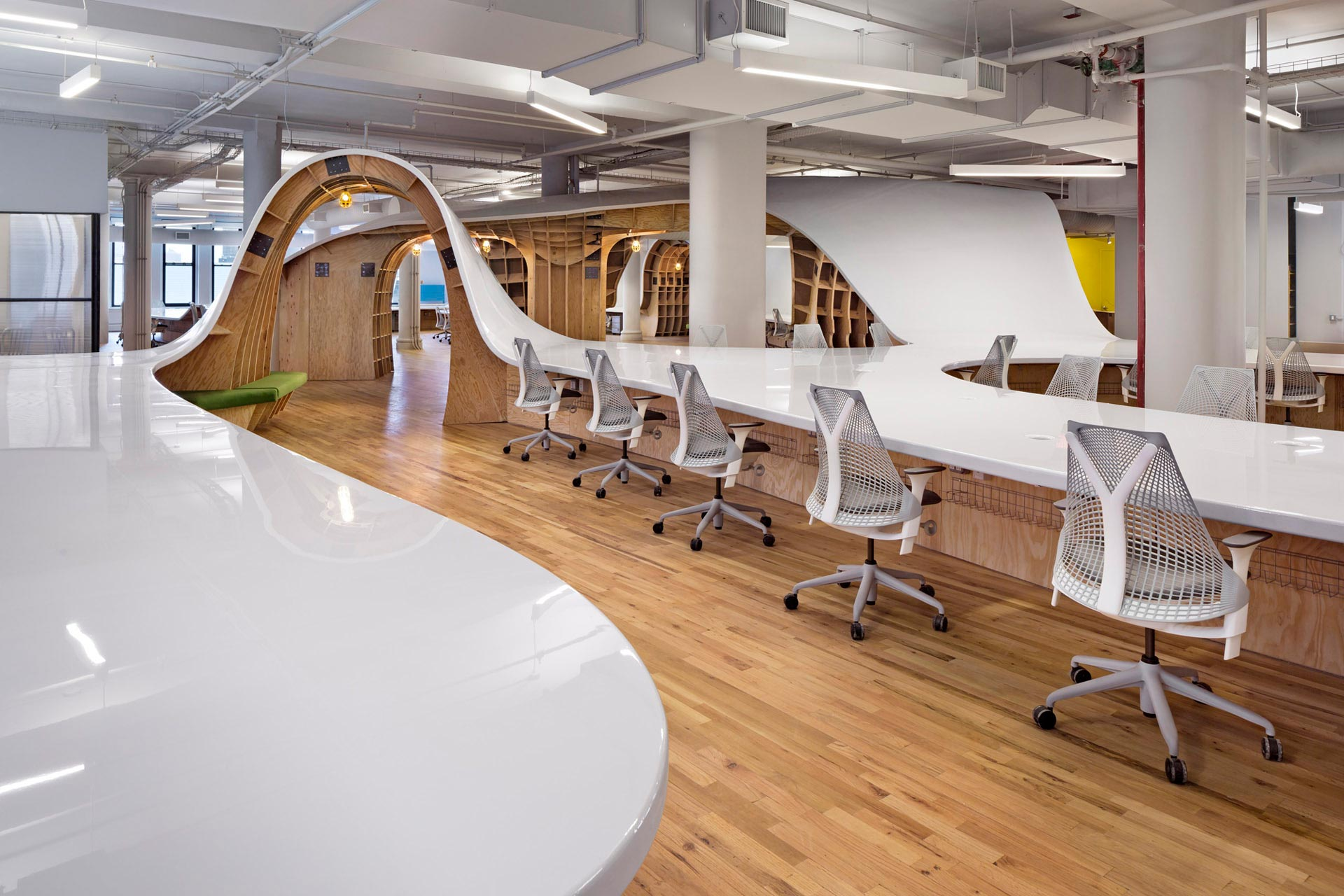 New office design Concept Introducing The Superdesk Work Design Magazine Clive Wilkinson Architects The Barbarian Group